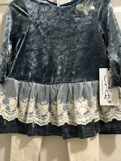 Brand New 2T Velvet Shirt And Leggings 2 piece Dress Set Lace Ruffle Toddler Girls Pippa & Julie for Sale in San Jose,  CA