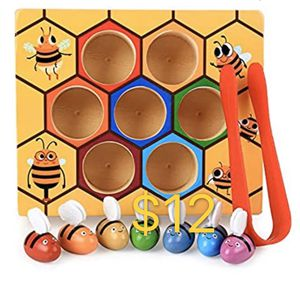Aland Wooden Hive Games Board 7Pcs Bees Clamp Picking Catching Educational Kids Toy Beehive Game Industrious Little bee catching Insect Game Color co for Sale in San Gabriel, CA