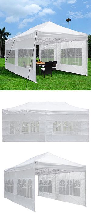 (NEW) $200 Heavy-Duty 10x20 Ft Outdoor Ez Pop Up Party Tent Patio Canopy w/Bag & 6 Sidewalls, White for Sale in Whittier, CA