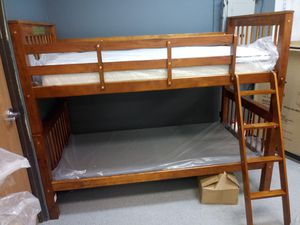 Walnut twin over Twin Bunk bed frame for Sale in Columbus, OH