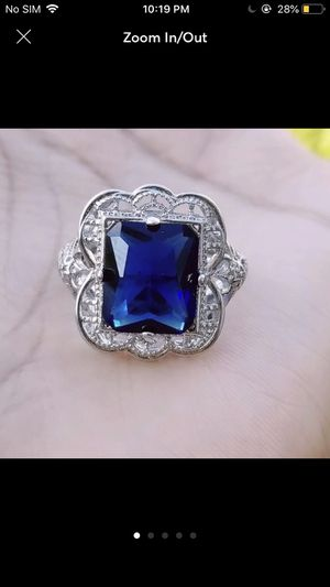Sterling silver plated plated blue sapphire ring for Sale in Silver Spring, MD