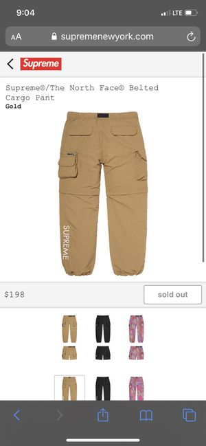 Supreme x North Face Belted Cargo Pants Gold L for Sale in Placentia, CA