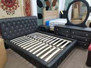 No credit needed black faux leather Queen platform bed frame dresser mirror nightstand for Sale in Beltsville, MD