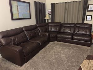 3- Piece Chocolate Leather Sectional with Pull-out Sofa Bed for Sale in Henderson, NV