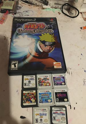8 ds/3ds games plus naruto ps2 game. for Sale in San Bernardino, CA