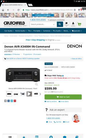 Brand new denon reciver for Sale in Alexandria, VA