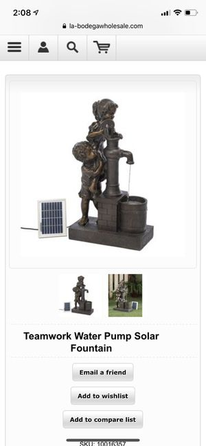 Teamwork Water Pump Solar Fountain for Sale in New York, NY