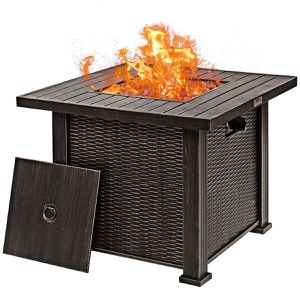 "30"" Square Propane Fire Pit Table w/Lid and Lava Rocks for Sale in Los Angeles, CA"
