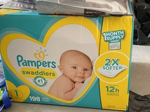Diapers Newborn/Size 1 (8-14 lb), 198 Count - Pampers Swaddlers Disposable Baby Diapers, ONE MONTH SUPPLY for Sale in Santa Ana, CA