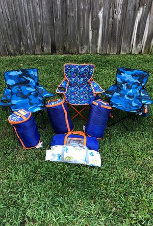 Kids camping gear. 3 chairs, 2 tents & 3 sleeping bags for Sale in Homestead, FL
