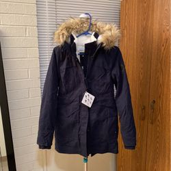 Women's Hollister Faux-Fur-Lined Parka Navy Blue Size: XS for Sale in Norman,  OK