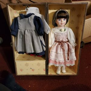 Vintage Porcelain Doll In A Wooden Box for Sale in Dallas, TX