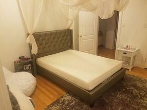 Brand New Full Size Silver Leather Platform Bed + Gel Foam Mattress for Sale in Silver Spring, MD