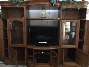 Wooden TV stand w/ lots of storage for Sale in Odenton, MD