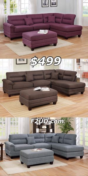 New purple, brown, grey polyfiber fabric sofa sectional with ottoman for Sale in Pomona, CA