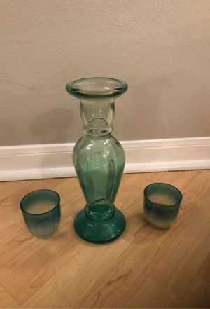 Blue turquoise teal glass vase and 2 candle holders home decor for Sale in Dallas, TX
