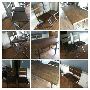 Ashley Dark brown wood dinning table set with 4 chairs and bench seat for Sale in Pine Bluff, AR