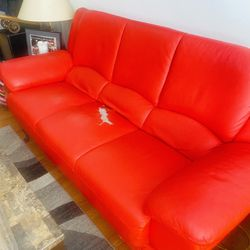 Red Leather Couch for Sale in Fairview Heights,  IL