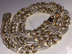 New jewelry iced out gold filled 12 mm mariner link chain necklace box lock created diamonds for Sale in Norwalk, CA