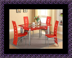 Glass red dining table with leather chairs for Sale in Riverdale Park, MD