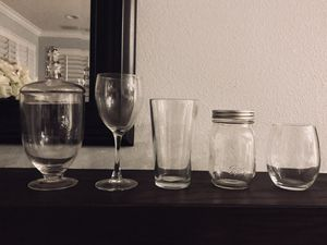 12 pc Apothecary candy mason jars pub stemless wine glasses for Sale in Tustin, CA