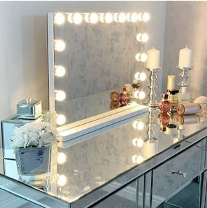 Large Vanity Makeup Mirror with Lights,Hollywood Lighted Mirror with 15 pcs Dimmable Led Bulbs for Dressing Room for Sale in Marco Island, FL