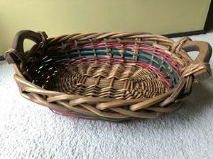 Large woven basket with wood handles for Sale in Lenexa, KS