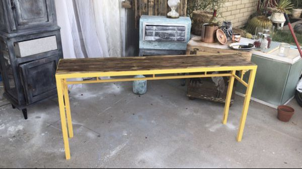 Long Metal & Wood Console Table /Sofa Table
