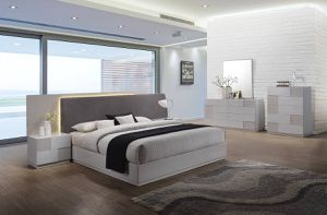 Brand NEW Modern LED Grey and White Designer 4pc bedroom SET /100% new in box for Sale in Palo Alto, CA
