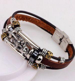 "9"" Men's Dragon Head Multilayered Leather Bracelet for Sale in Riverside, CA"