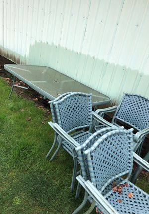 Large 6 chair glass outdoor dining table/ patio furniture for Sale in Vancouver, WA