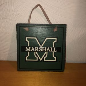 NEW Marshall heavy stone sign/decoration with a leather strap to hang it on the wall. See pics for details and dimensions for Sale in Saint Albans, WV