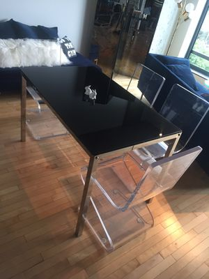 Chic dining table, work table, desk - black glass top and silver for Sale in Portland, OR