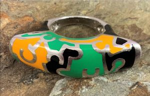 Flli Menegatti Enamel & Sterling Picasso Modernist Ring for Sale in Roswell, GA