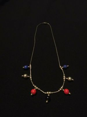 Beautiful Vintage Sterling Silver Beaded Necklace Periwinkle Red And Black Charms With Barrel Clasp for Sale in Portland, OR