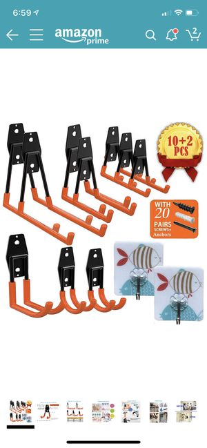 Garage Storage for Hanging Power Tools, Ladders, Ropes, Bikes Hanger, 10 Pcs with 2 Pcs Wall Hooks for Sale in Corona, CA