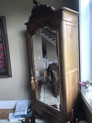 Antique Armoire glass mirror door internal shelves for Sale in Issaquah, WA