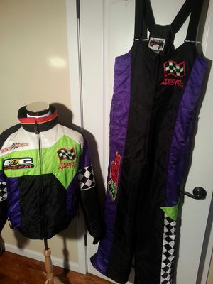 USA made Vintage arctic cat snowmobile 3 in 1 two jackets and snow bibs selling as a set for Sale in Kalama, WA