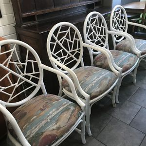 Rattan Bamboo Chairs With Wheat 🌾 Style Bamboo Table With Glass for Sale in San Diego, CA