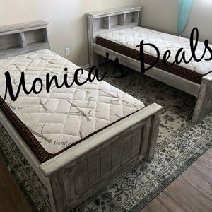 Twin Solid Wood Beds & Bamboo Mattresses $540 for Sale in Pico Rivera, CA