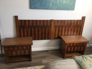 Mid Century lane wood complete bedroom set- two night stands, tall boy, long dresser, king headboard for Sale in Manassas, VA
