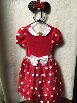 Disney Store Minnie Mouse deluxe costume with sparkly ears headband girls size 7/8 for Sale in Riverside, IL