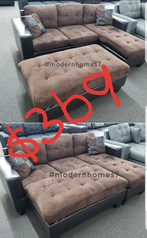 dark brown sectional sofa with ottoman +2pillows reversible sleeper couch for Sale in Fontana, CA