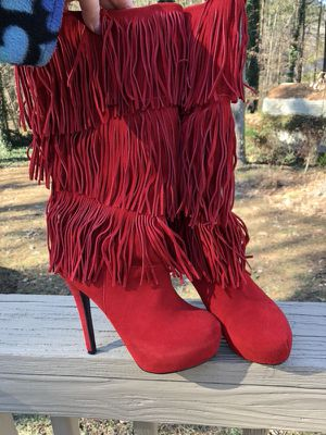 Genuine red leather fringe stiletto boots 8.5 for Sale in Durham, NC