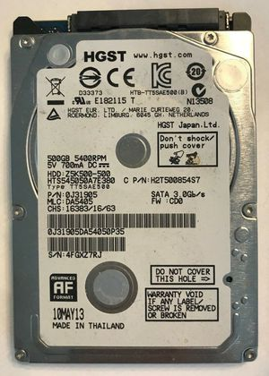 "500GB 5400RPM SATA 6.0Gb/s 2.5"" Internal Notebook HDD for Sale in Mount Dora, FL"