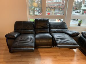 Reclining Leather Sofa with LED floor lighting. for Sale in Seattle, WA