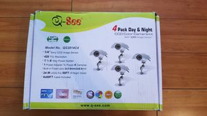 New Q See Weatherproof Indoor/Outdoor CCD Cameras 4 Pack (QS2814C4) for Sale in Santa Ana, CA