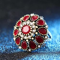 Kinel Hot 2020 **Size: 8** 925 Sterling Silver Handmad**Flower Crystal & Precious Ruby Vintage Look Round Color Gold Mosaic Red Resin Turkey Jewelry** for Sale in Brooklyn,  NY