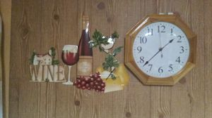 Light wood clock w or w/out wine and cheese sign for Sale in Chicago, IL