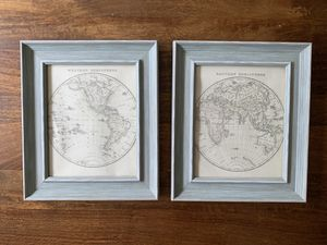 East ans West Hemisphere maps in wood frames for Sale in Jersey City, NJ